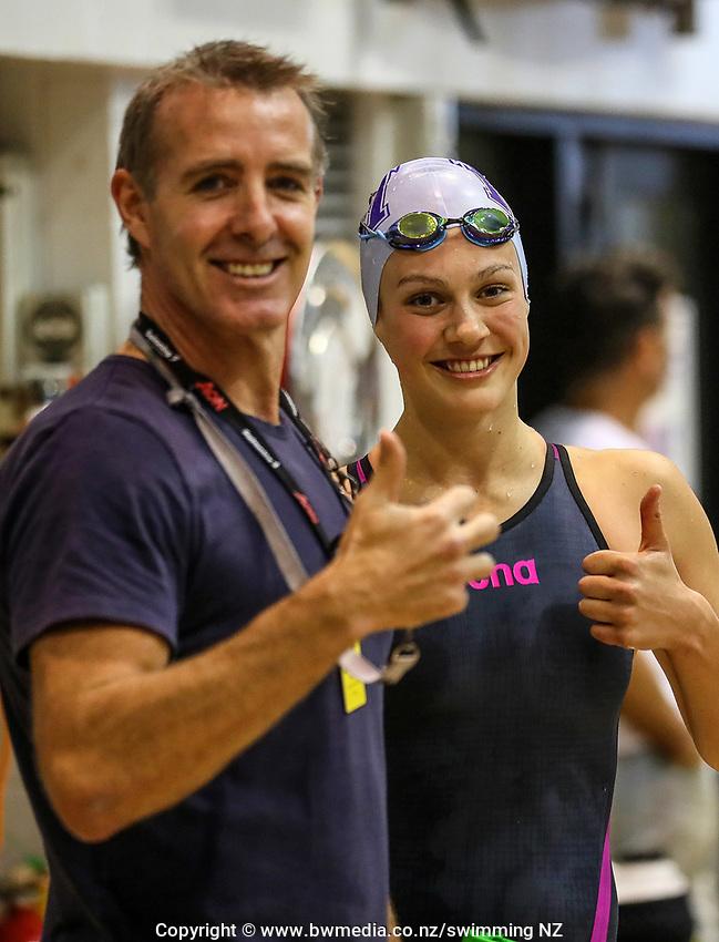 Paul Kent and Brearna Crawford. Swimming New Zealand Aon National Age Group Championships, Wellington Regional Aquatic Centre, Wellington, New Zealand, Wednesday 17 April 2019. Photo: Simon Watts/www.bwmedia.co.nz