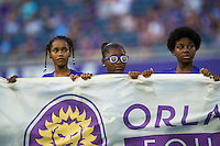 Orlando, FL - Saturday July 16, 2016: Banner kids prior to a regular season National Women's Soccer League (NWSL) match between the Orlando Pride and the Chicago Red Stars at Camping World Stadium.