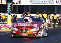 Feb 6, 2015; Pomona, CA, USA; NHRA pro stock driver Jimmy Alund during qualifying for the Winternationals at Auto Club Raceway at Pomona. Mandatory Credit: Mark J. Rebilas-