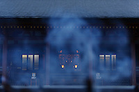 Main temple building behind incense smoke, Motsuji, Hiraizumi, Iwate Pref, Japan, October 16, 2008..