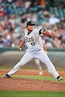 Salt Lake Bees starting pitcher Jaime Barria (43) delivers a pitch to the plate against the Fresno Grizzlies at Smith's Ballpark on September 3, 2017 in Salt Lake City, Utah. The Bees defeated the Grizzlies 10-8. (Stephen Smith/Four Seam Images)