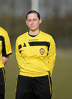 20150307 - TUBIZE , BELGIUM : Belgian referee Kim Depickere pictured during the friendly female soccer match between Women under 19 teams of  Belgium and Czech Republic . Saturday 7th March 2015 . PHOTO DAVID CATRY