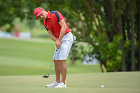 Zheng Kai BAI (CHN) watches his putt on 11 during Rd 4 of the Asia-Pacific Amateur Championship, Sentosa Golf Club, Singapore. 10/7/2018.<br /> Picture: Golffile | Ken Murray<br /> <br /> <br /> All photo usage must carry mandatory copyright credit (&copy; Golffile | Ken Murray)
