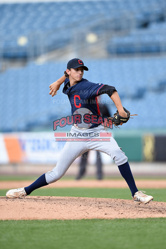 Jackson Kowar (44) of Charlotte Christian High School in Matthews, North Carolina playing for the Cleveland Indians scout team during the East Coast Pro Showcase on July 31, 2014 at NBT Bank Stadium in Syracuse, New York.  (Mike Janes/Four Seam Images)