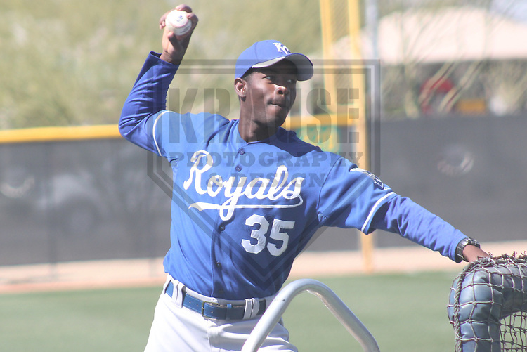 SURPRISE - March 2012: Onil Joseph (35) of the Kansas City Royals during a Spring Training practice on March 16, 2012 at Surprise Recreation Campus in Surprise, Arizona. (Photo by Brad Krause).