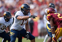 September 22, 2012: California's Brennan Scarlett communicating with his teammate during a game against USC at the Los Angeles Memorial Coliseum, Los Angeles, Ca  USC defeated California 27- 9