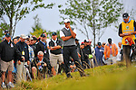 28 August 2009: Tiger Woods planning his shot out of the rough during the second round of The Barclays PGA Playoffs at Liberty National Golf Course in Jersey City, New Jersey.