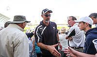 Picture by Alex Whitehead/SWpix.com - 12/09/2014 - Cricket - LV County Championship Div One - Nottinghamshire CCC v Yorkshire CCC, Day 4 - Trent Bridge, Nottingham, England - Yorkshire First Team Coach Jason Gillespie is congratulated by supporters.