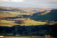 View over Hodder Valley showing Knot or Sugar Loaf , a disused limestone quarry, Dunsop Bridge, Lancashire.