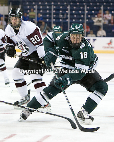 Greg Coburn (Union - 20), Dean Chelios (MSU - 16) - The Union College Dutchmen defeated the Michigan State University Spartans 3-1 in their NCAA East Regional semifinal on Friday, March 23, 2012, at the Webster Bank Arena in Bridgeport, Connecticut.
