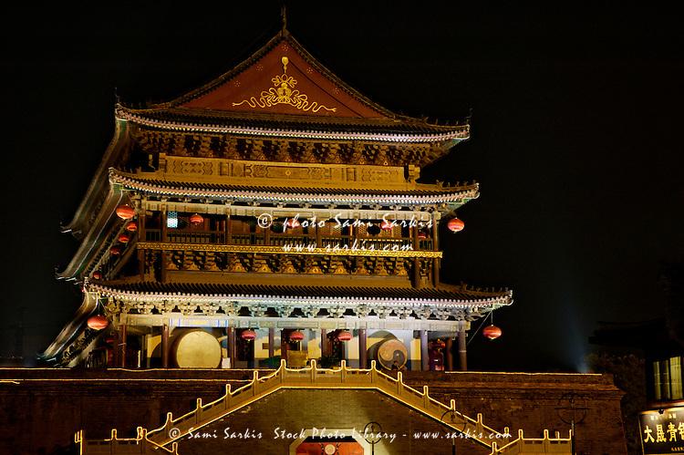 The Gu Lou Drum Tower illuminated at night, Xian, Shaanxi, China.