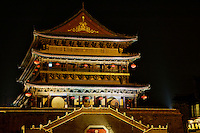 The Gu Lou Drum Tower illuminated at night, Xian, Shaanxi, China.
