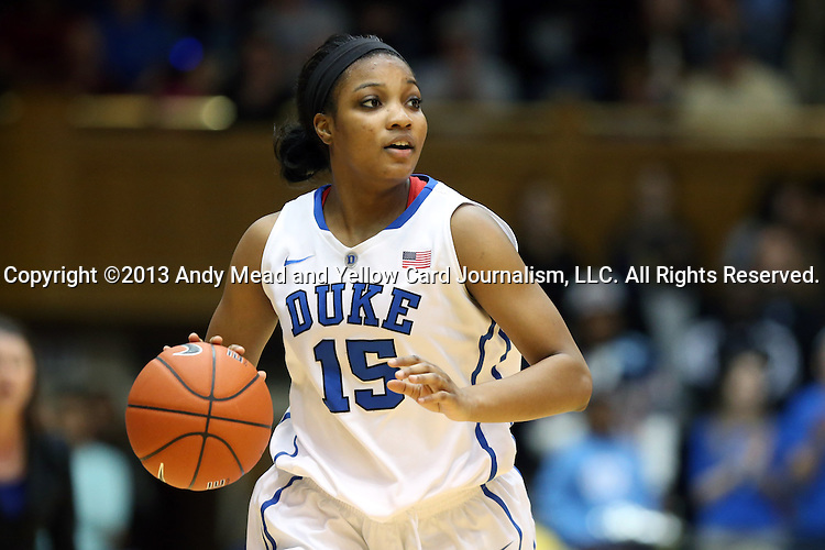 03 March 2013: Duke's Richa Jackson. The Duke University Blue Devils played the University of North Carolina Tar Heels at Cameron Indoor Stadium in Durham, North Carolina in a 2012-2013 NCAA Division I and Atlantic Coast Conference women's college basketball game. Duke won the game 65-58.