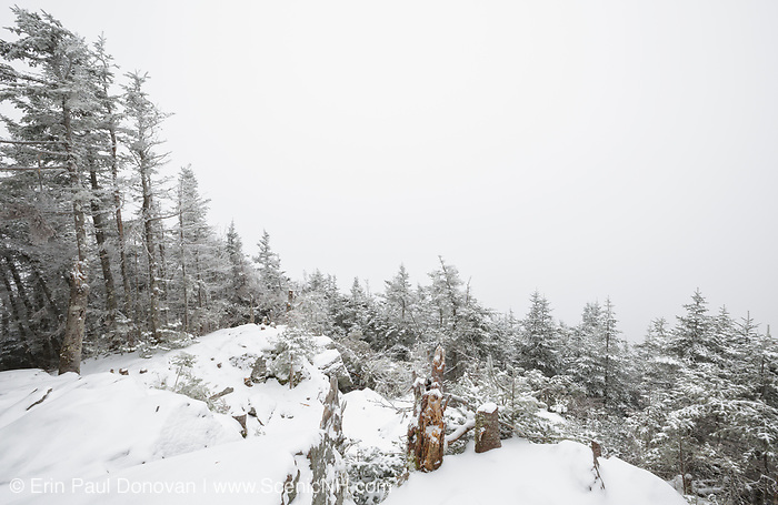 October 2013 - Winter conditions on Mount Tecumseh in Waterville Valley, New Hampshire. Illegal tree cutting has improved the summit. Forest Service has stated the cutting is unauthorized.