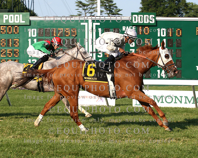 Joya Real #6 with Kendrick Carmouche riding won the Fort Monmouth Stakes at Monmouth Park in Oceanport, New Jersey on Sunday August 10, 2014. Photo By Bill Denver/EQUI-PHOTO