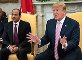 United States President Donald J. Trump meets President Abdel-Fattah el-Sisi of the Arab Republic of Egypt in the Oval Office of the White House in Washington, DC on April 9, 2019.<br /> Credit: Ron Sachs / Pool via CNP