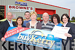 Castleisland woman Pauline O'Callaghan who chose Brownes Castleisland as her prize as this weeks winner of buyKerry on Tuesday l-r: Brendan Kennelly Kerrys Eye, Lisa Fitzgerald Kerry's Eye, PJ McAulliffe Brownes, Pauline O'Callaghan, John Daly Browne's , Siobhain McCrohan Browne'sand Suzanne Ennis Tralee Credit Union
