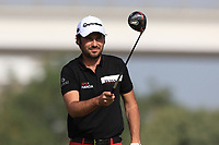 Victor Dubuisson (FRA) on the 3rd tee during Round 4 of the Omega Dubai Desert Classic, Emirates Golf Club, Dubai,  United Arab Emirates. 27/01/2019<br /> Picture: Golffile | Thos Caffrey<br /> <br /> <br /> All photo usage must carry mandatory copyright credit (&copy; Golffile | Thos Caffrey)