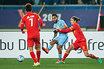 Jiangsu FC Forward Alex Teixeira (C) fights for the ball with Adelaide United Defender Michael Marrone (R) during the AFC Champions League 2017 Group H match between Jiangsu FC (CHN) vs Adelaide United (AUS) at the Nanjing Olympics Sports Center on 01 March 2017 in Nanjing, China. Photo by Marcio Rodrigo Machado / Power Sport Images