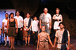 "Curtain Call - Tramaine Montell Ford ""Hermes"" - Colleen Zenk ""Anticleia"" - Dan Sheridan ""Zeus"" - Christian Leadley ""Prince Odysseus"" - Benjamin Slater ""Young Telemachus"" - Eddie Korbich ""Posidon"" - Emma Zaks ""Athena"" - Janine DiVita ""Penelope"" - Josh A. Davis ""Odyssues"" - Dress Rehearsal of Odyssey - The Epic Musical starring Colleen Zenk, Edddie Korbich, Josh A. Davis, Emma Zaks and Janine DiVita and cast on October 21, 2011 at the American Theatre of Actors, New York City, New York. (Photo by Sue Coflin/Max Photos)"