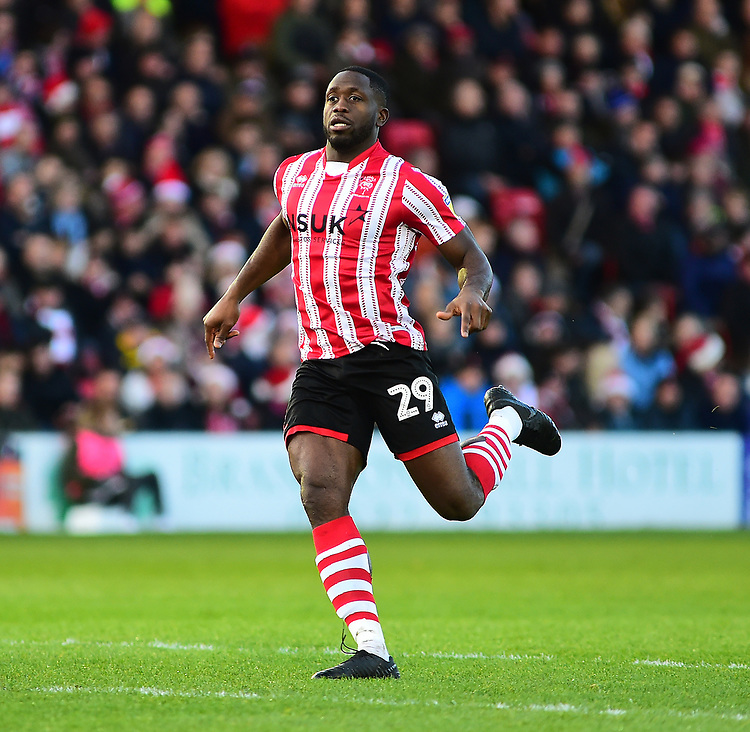 Lincoln City's John Akinde<br /> <br /> Photographer Andrew Vaughan/CameraSport<br /> <br /> The EFL Sky Bet League Two - Lincoln City v Newport County - Saturday 22nd December 201 - Sincil Bank - Lincoln<br /> <br /> World Copyright © 2018 CameraSport. All rights reserved. 43 Linden Ave. Countesthorpe. Leicester. England. LE8 5PG - Tel: +44 (0) 116 277 4147 - admin@camerasport.com - www.camerasport.com