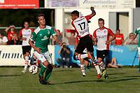 LEER - Voetbal , Werder Bremen - FC Emmen, oefenduel, seizoen 2018--2019, 04-09-2018, FC Emmen speler Luciano Slagveer met Sebastiaan Langkamp