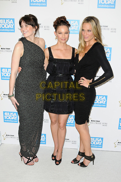 MANDY MOORE, ASHLEY JUDD & MOLLY SIMS.at the USA Today 4th Annual Hollywood Hero Award Honors at the Montage Beverly Hills in Beverly Hills, California, USA, November 10th 2009..full length  one shoulder black and white dress long maxi tiered shiny ruffle sleeved sleeves long gold zips sandals peep toe hand on hip polka dot .CAP/ROT.©Lee Roth/Capital Pictures