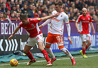 Charlton Athletic's Ben Purrington holds off Blackpool's Chris Long<br /> <br /> Photographer David Shipman/CameraSport<br /> <br /> The EFL Sky Bet League One - Charlton Athletic v Blackpool - Saturday 16th February 2019 - The Valley - London<br /> <br /> World Copyright © 2019 CameraSport. All rights reserved. 43 Linden Ave. Countesthorpe. Leicester. England. LE8 5PG - Tel: +44 (0) 116 277 4147 - admin@camerasport.com - www.camerasport.com