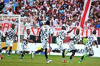 BARRANQUILLA- COLOMBIA -23 -04-2016: Los Jugadores de Boyaca Chico FC, celebran el gol anotado a Atletico Junior, durante partido entre Atletico Junior y Boyaca Chico FC, de la fecha 14 de la Liga Aguila I-2016, jugado en el estadio Metropolitano Roberto Melendez de la ciudad de Barranquilla. / The players of Boyaca Chico FC, celebrate a scored goal to Atletico Junior, during a match between Atletico Junior and Boyaca Chico FC, for date 14 of the Liga Aguila I-2016 at the Metropolitano Roberto Melendez Stadium in Barranquilla city, Photo: VizzorImage  / Alfonso Cervantes / Cont.