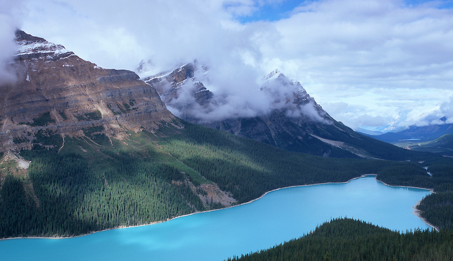 Peyto Lake as seen on a cloud-filled day in Alberta Canada.