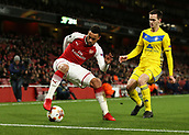 7th December 2017, Emirates Stadium, London, England; UEFA Europa League football, Arsenal versus BATE Borisov; Francis Coquelin of Arsenal with a cruyff turn against Dzyanis Palyakow of BATE Borisov