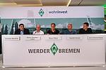 14.06.2019, Wohninvest Weserstadion, Bremen, GER, 1.FBL, Werder Bremen Partnerschaft mit Wohninvest, <br /> <br /> Werder Bremen hat die Namensrecht für 10 Jahre an die Wohninvest in Stuttgart verkauft. Das Stadiuon wird künftig wohninvest Weserstadion heißen<br /> im Bild<br /> Normen Ibenthal (Werder Bremen)<br /> Heinz-Günther / Guenther Zobel (BWS Geschaeftsfuehrer)<br /> Klaus Filbry (Vorsitzender der Geschäftsführung / Kaufmännischer Geschäftsführer SV Werder Bremen)<br /> Harald Panzer ( Chief Exceutive Officer)<br /> Jens Zimmermann ( Sprecher wohninvest-Gruppe)<br /> <br /> Foto © nordphoto / Kokenge
