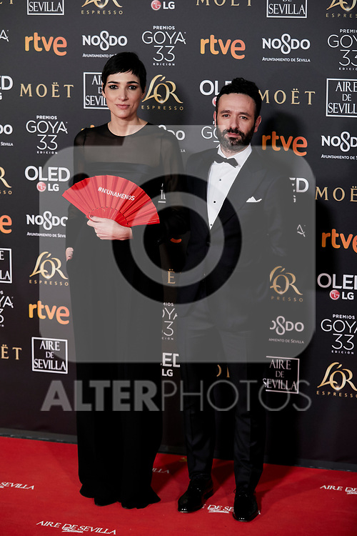 Isabel Pena and Rodrigo Sorogoyen attends to 33rd Goya Awards at Fibes - Conference and Exhibition  in Seville, Spain. February 02, 2019. (ALTERPHOTOS/A. Perez Meca)