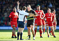 Alex Waller of Northampton Saints argues with referee Ian Tempest. Premiership Rugby Cup Final, between Northampton Saints and Saracens on March 17, 2019 at Franklin's Gardens in Northampton, England. Photo by: Patrick Khachfe / JMP