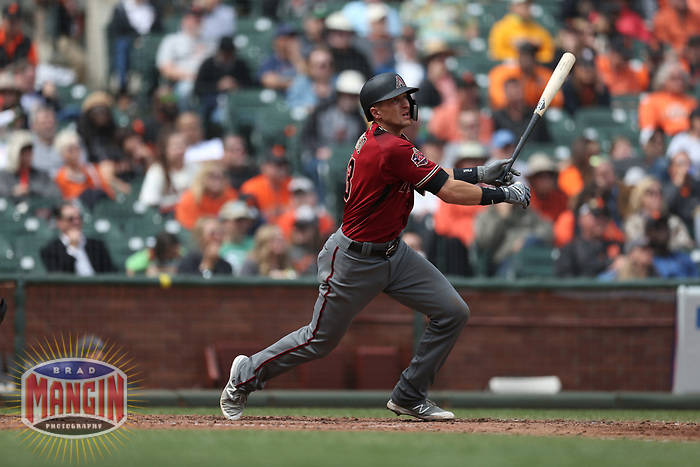 SAN FRANCISCO, CA - APRIL 11:  Nick Ahmed #13 of the Arizona Diamondbacks bats against the San Francisco Giants during the game at AT&T Park on Wednesday, April 11, 2018 in San Francisco, California. (Photo by Brad Mangin)
