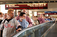Philadelphia International Airport Terminal A US Air, the public waits to enter the secure area after ticketing and check in In Philadelphia Friday Sept. 28, 2001. (New Yrok Times/Bradley Clark Bower)