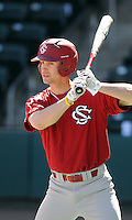 South Carolina outfielder Austin Ashmore (16) prior to a game between the Clemson Tigers and South Carolina Gamecocks Saturday, March 6, 2010, at Fluor Field at the West End in Greenville, S.C. Photo by: Tom Priddy/Four Seam Images
