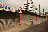 Closed arcade businesses on Jones Walk in Coney Island in Brooklyn in New York on Saturday, July 23, 2011.  (© Richard B. Levine)