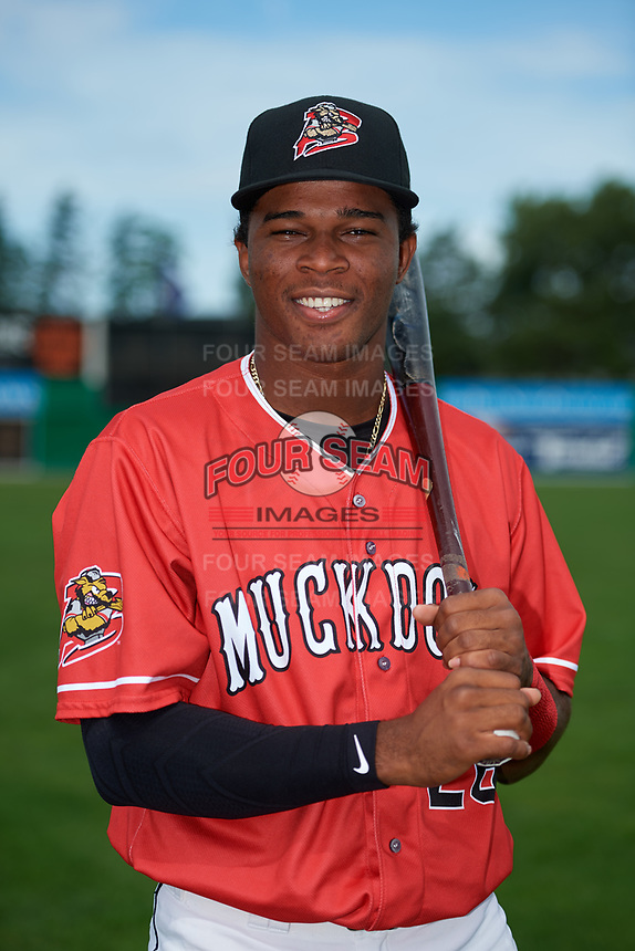 Batavia Muckdogs Ronal Reynoso (26) poses for a photo before a game against the Auburn Doubledays on September 2, 2018 at Dwyer Stadium in Batavia, New York.  Batavia defeated Auburn 5-4.  (Mike Janes/Four Seam Images)