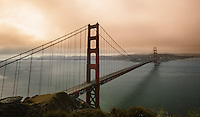 The Golden Gate on an early summer morning.  A long exposure and smoke from several Northern California fires  make for this unique color combination.