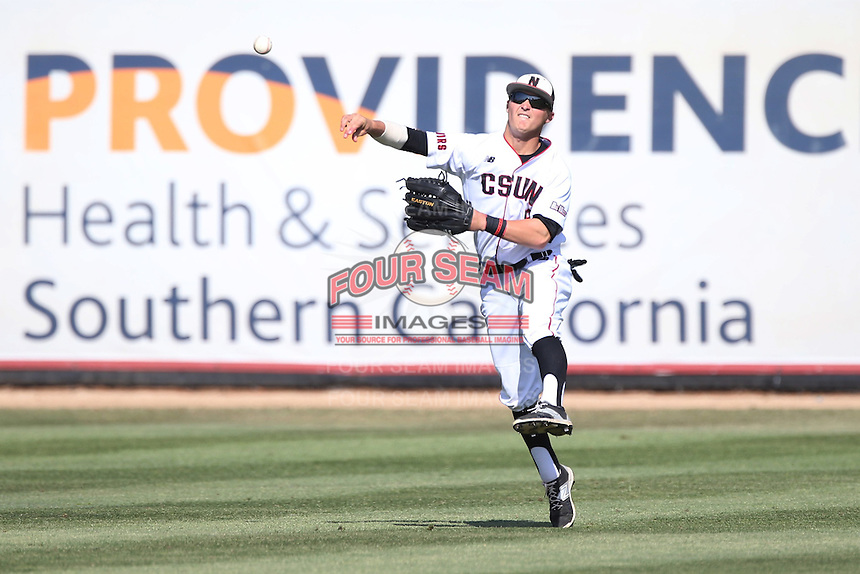 Nick Blaser (5) of the Cal State Northridge Matadors makes a throw from the field during a game against the UC Santa Barbara Gouchos at Matador Field on April 10, 2015 in Northridge, California. UC Santa Barbara defeated Cal State Northridge, 7-4. (Larry Goren/Four Seam Images)