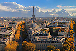 View from the Arc de Triomphe, autumn, Paris, France,