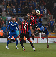 Bournemouth's Ryan Fraser (left) gets kicked in the head battles with Cardiff City's Sol Bamba (right) <br /> <br /> Photographer David Horton/CameraSport<br /> <br /> The Premier League - Bournemouth v Cardiff City - Saturday August 11th 2018 - Vitality Stadium - Bournemouth<br /> <br /> World Copyright &copy; 2018 CameraSport. All rights reserved. 43 Linden Ave. Countesthorpe. Leicester. England. LE8 5PG - Tel: +44 (0) 116 277 4147 - admin@camerasport.com - www.camerasport.com