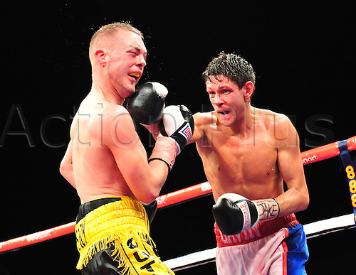 21.05.2014.  Leeds, England. Gavin McDonnell gets in a jab on opponent Josh Wale during their fight at The First Direct Arena.