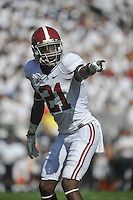 10 September 2011:  Alabama CB Dre Kirkpatrick (21). The Alabama Crimson Tide defeated the Penn State Nittany Lions 27-11 at Beaver Stadium in State College, PA..