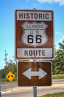Historic Route 66 signs in Lincoln Illinois.