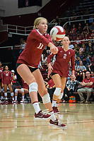 STANFORD, CA - September 9, 2018: Kate Formico, Kathryn Plummer at Maples Pavilion. The Stanford Cardinal defeated #1 ranked Minnesota 3-1 in the Big Ten / PAC-12 Challenge.
