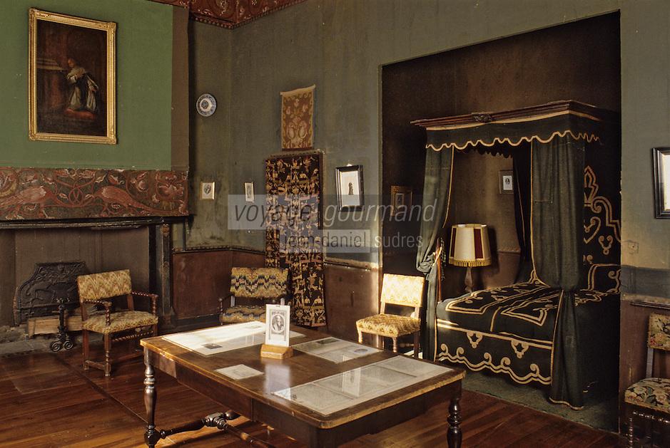 Europe/France/Auverne/63/Puy-de-Dôme/Aigueperse: Le Château de la Roche Aigueperse - Détail chambre de Michel de l'Hopital