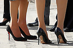 Queen Letizia of Spain and Queen Rania of Jordan, detail of shoes, visit the 'Severo Ochoa' Molecular Biology Centre at the Universidad Autonoma of Madrid. November 18, 2015. (ALTERPHOTOS/Acero)