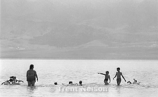 People swimming in Utah Lake..<br />